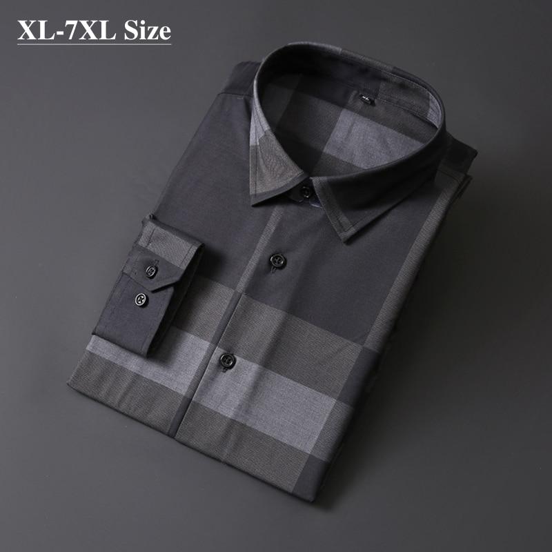 Brand Men's Business Casual Shirts Autumn New Fashion Long Sleeve Gray Plaid Loose Shirt Work Dress Plus Size 5XL 6XL 7XL