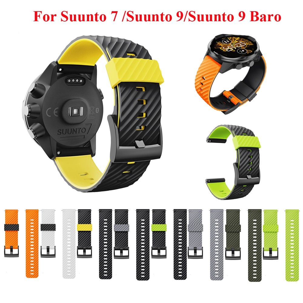 watchband for suunto 9 peak suunto 3 watch strap band soft silicone wristband bracelet replace accessories JKER 24mm Silicone Rubber Watch Strap For Suunto 9 / Baro Watch Band Suunto 7 Watchband Spartan Watch Band HR Bracelet D5 Watch