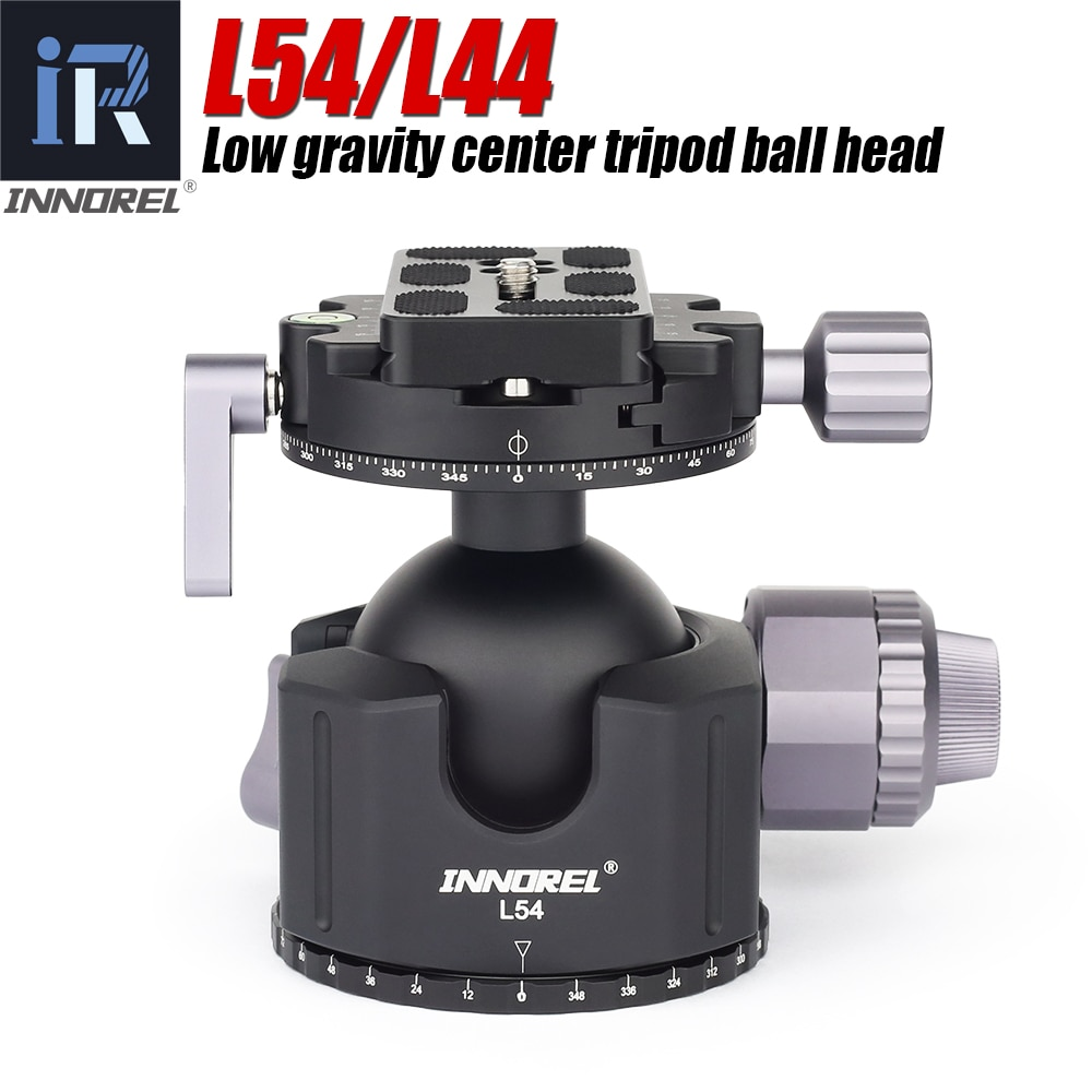 INNOREL L54/L44 Low gravity center tripod ball head Aluminum double panoramic heavy duty camera ball head Max load 30kg innorel rt30 professional aluminum alloy tripod monopod add ball head max height 197cm 77 6in for outdoor camera video recorder