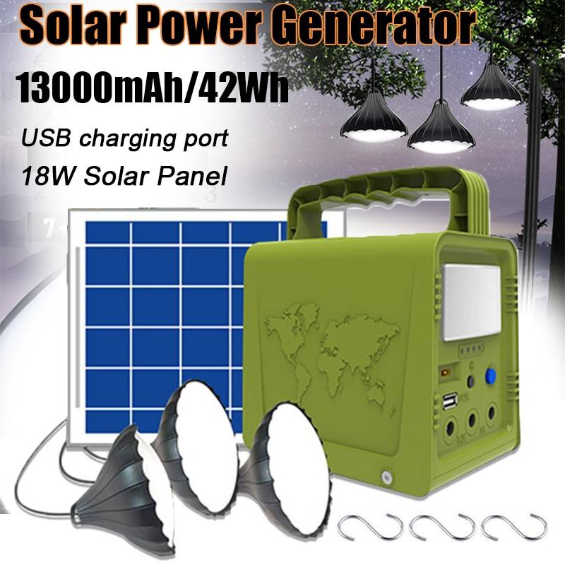 18W Solar Panel Power Storage Generator Home System Kit 5V USB Charger Portable Solar Generator System Outdoor Garden Lighting
