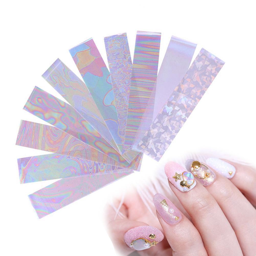 10Rolls Sparkly UV Gel Nail Art Transfer Foil Stickers Decals DIY Manicure Decor наклейки н