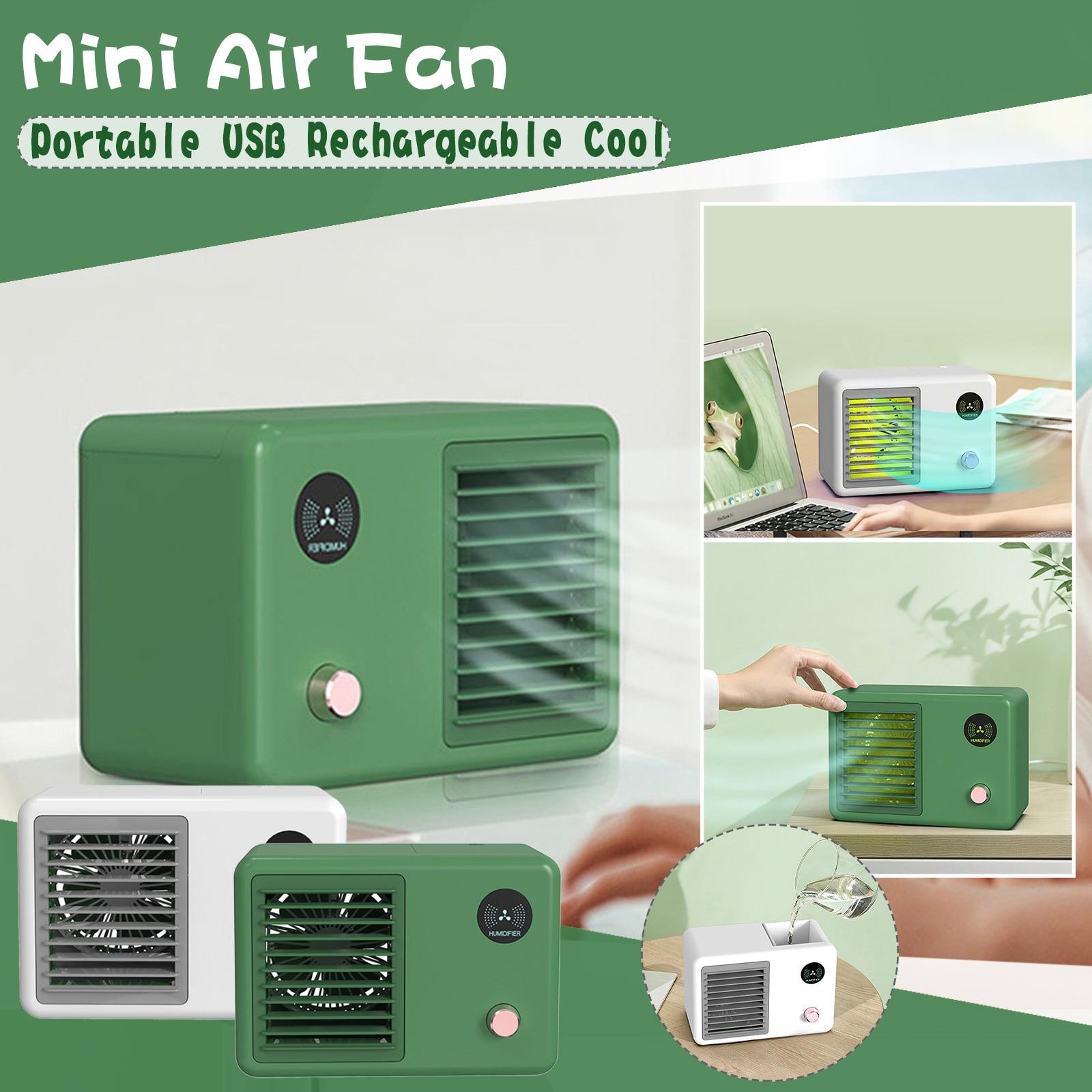 Condicionador de ar Ventilador de ar Escritório em Casa Portátil Mini Pessoal Recarregável Fresco Ssummer Multifuncional Desktop Usb