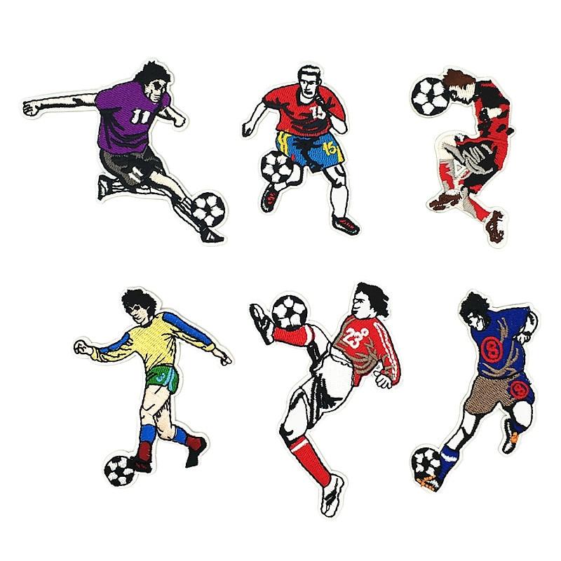Parches de fútbol para ropa bordados, parches deportivos para planchar, ropa para niños, Chico, apliques para coser, pegatinas, insignias G