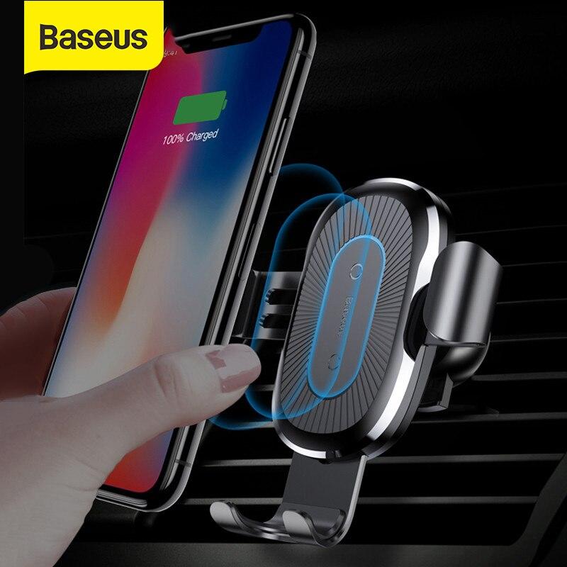 Baseus تشى سيارة لاسلكية شاحن آيفون X Xs XR 8 7 10 واط سريع شاحن سيارة جبل حامل لسامسونج S9 S8 سيارة شاحن الهاتف