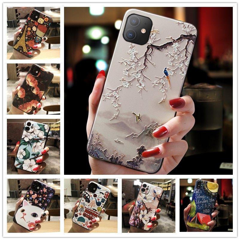 3D Relief Phone Case For OnePlus Nord N10 5G Case Floral Silicon Cover For OnePlus Nord N100 Case On