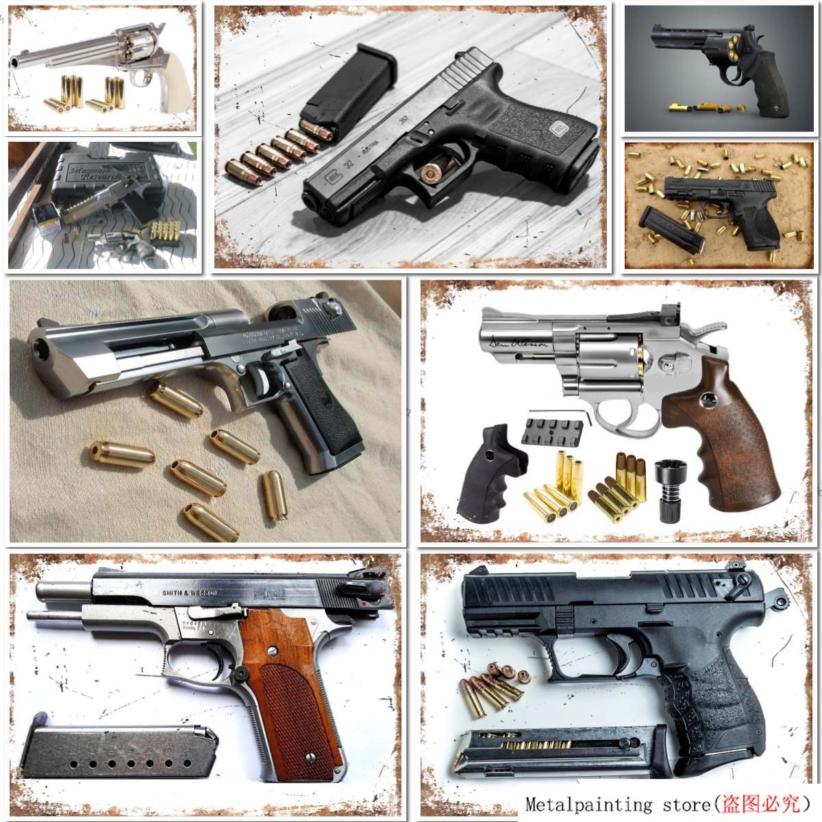The Handgun 101 Desert Eagle Gun Metal Tin Sign Poster Plaque Bar Pub Club Cafe Home Plate For Wall Decor Art  20x30 cm