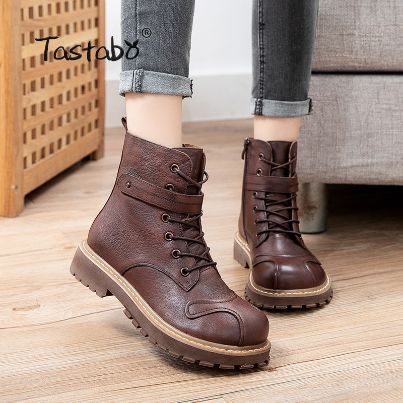 casual women shoes autumn winter hot leather round head Martin boots classic retro fashion comfortable simple womens S692