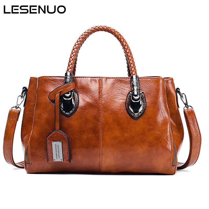 LESENUO Women Handbags Luxury Retro PU Leather Large Soft Bags Boston Women Fashion Design Shoulder Bag Oil Wax Bag