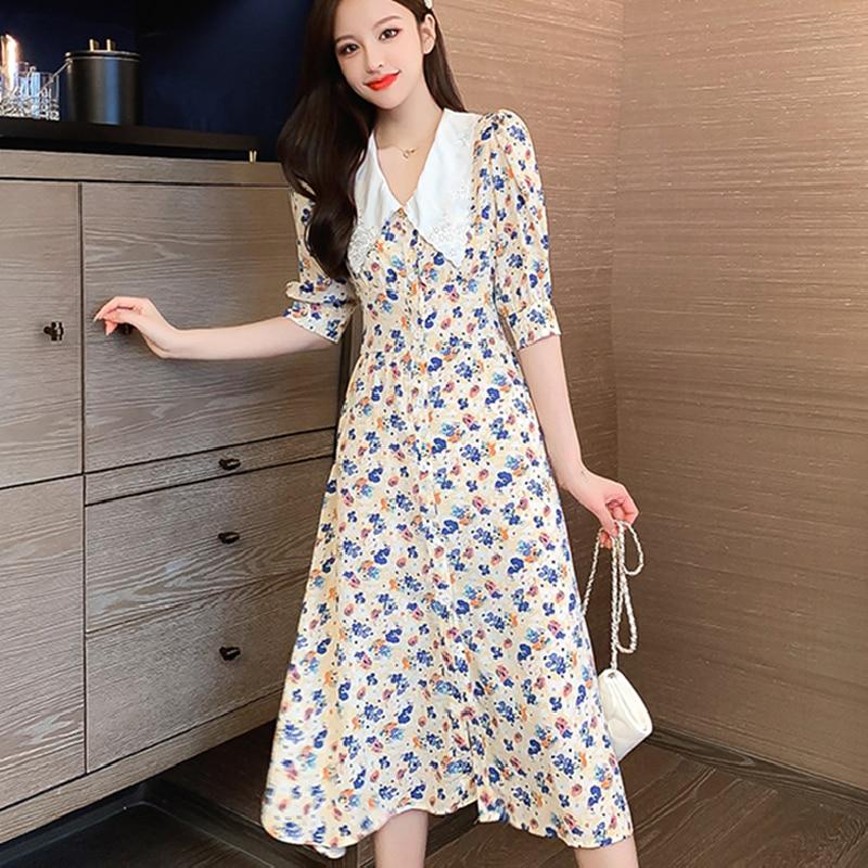 Boho Retro Casual Vacation Dress Korean Women Long Floral Chiffon Dresses Summer 2021 Runway Elegant Vintage Party Night Dress