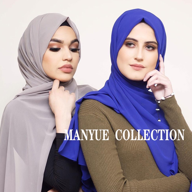 Hijab musulmán para mujer, bufanda Lisa De gasa con burbujas, chal de...