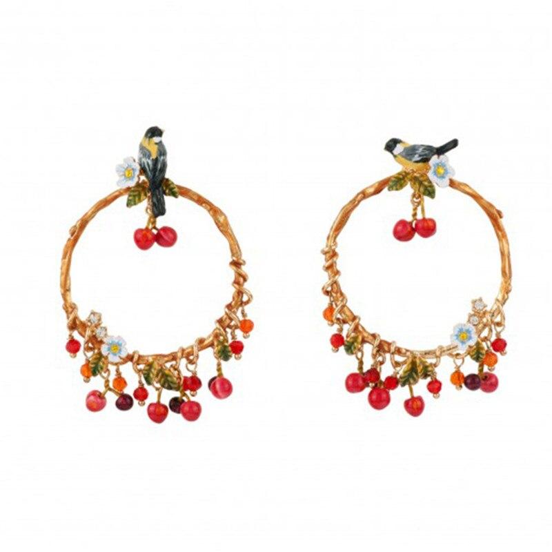 925 Silver Needle New Enamel Glazed Oriole Bird Stud Earrings Personality Fruit Small Cherry Circle Pendant Earrings Female
