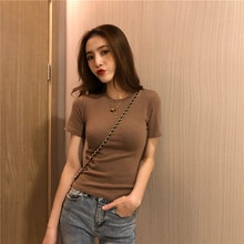 Tshirt Chict T-shirt Women's Retro Solid Color New Solid Color Basic Slim Fit Slimming Short Sleeve