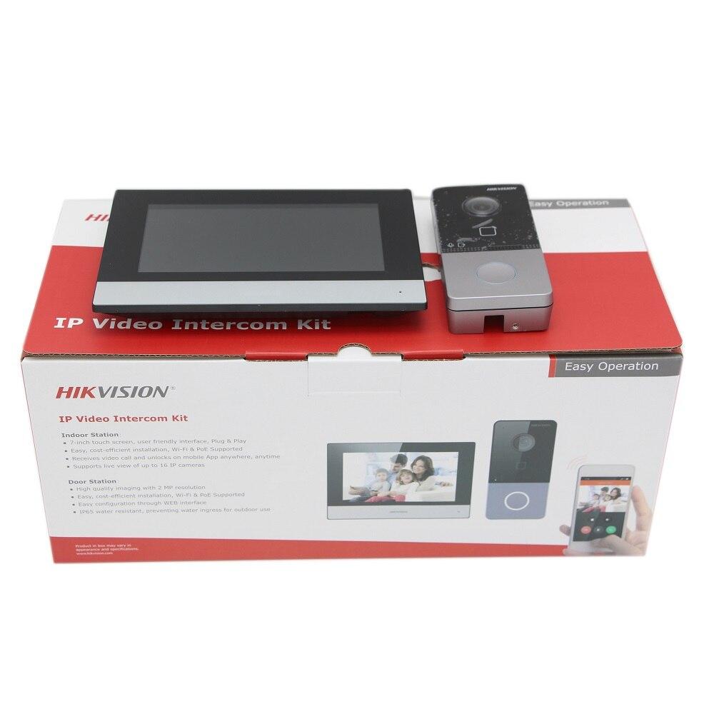Hikvision IP فيديو إنترفون عدة DS-KIS603-P(B) تشمل DS-KV6113-WPE1 + DS-KH6320-WTE1 بو جرس الباب محطة واي فاي مراقب