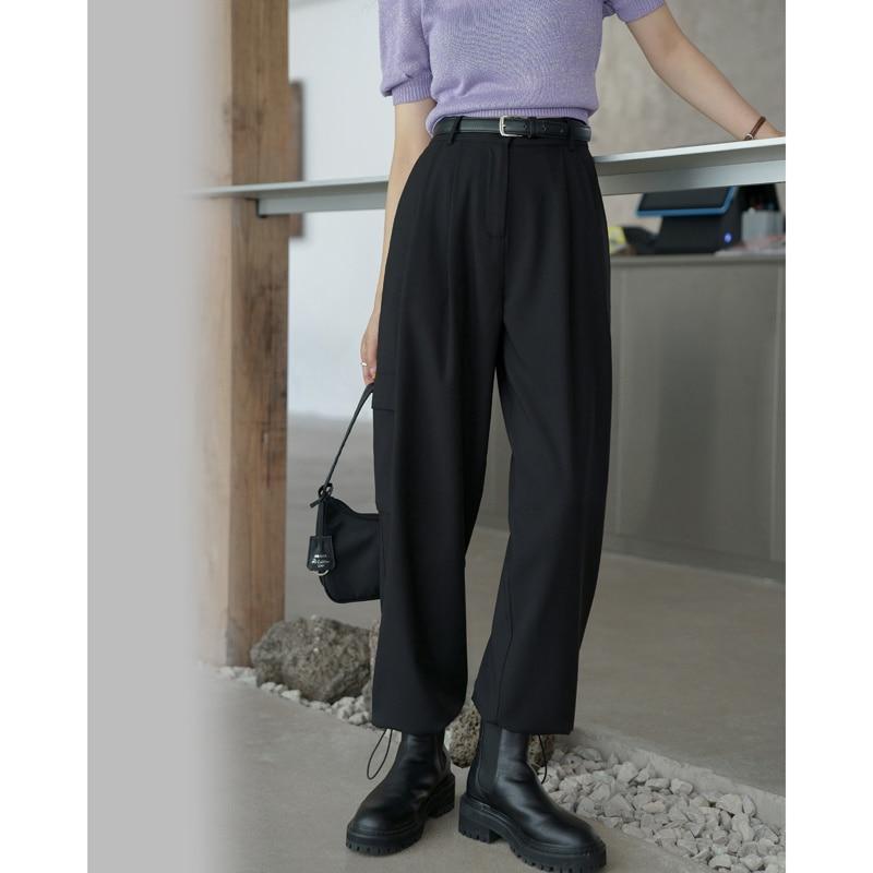 2021 New Tooling Style Versatile Straight Pants Wide Leg Casual Pants Women's Legged Slim
