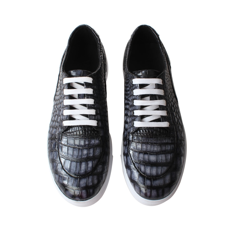Vikeduo Hand Made Retro Style Black Grey Casual Man Leather Shoe Genuine Skin Men Shoes Crocodile Sneaker