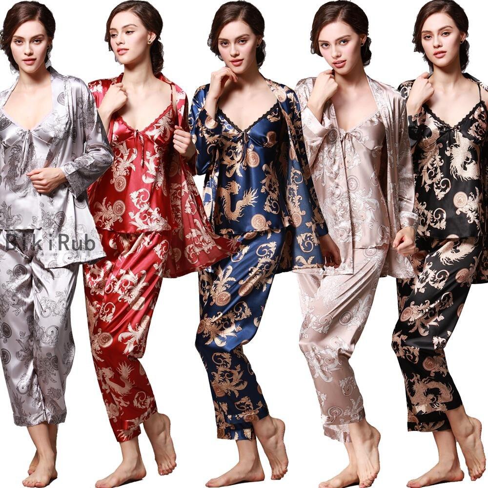 2020 Women Silk Pajamas Female 3 Pieces Satin Pajamas Sets Autumn Spring Sleepwear Summer Long Sleeve Homewear Printed Nightwear