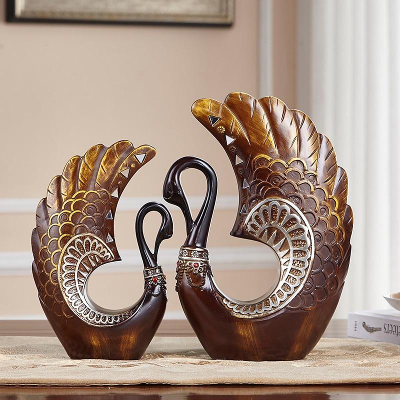 Resin Swan Home Decoration Wine Cabinet Ornaments Creative Retro Decorations Living Room Shelf Swan Furnishings Wedding Gifts