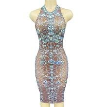 Shining Inlaid Diamonds Mesh Plaid Print Women Dresses Tight Bag Hip Dresses DJ Singer Dance Stage W