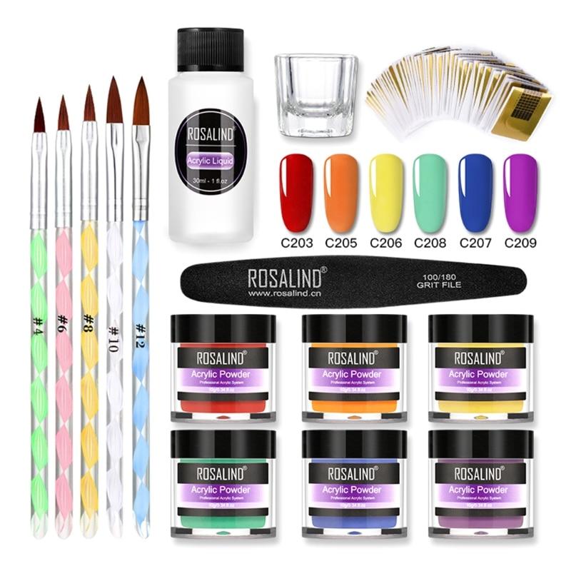 1 Set Professional Acrylic Powder Liquid Set 3 Colors Nails Art Kit Decoration for Nail Extension Manicure Tool