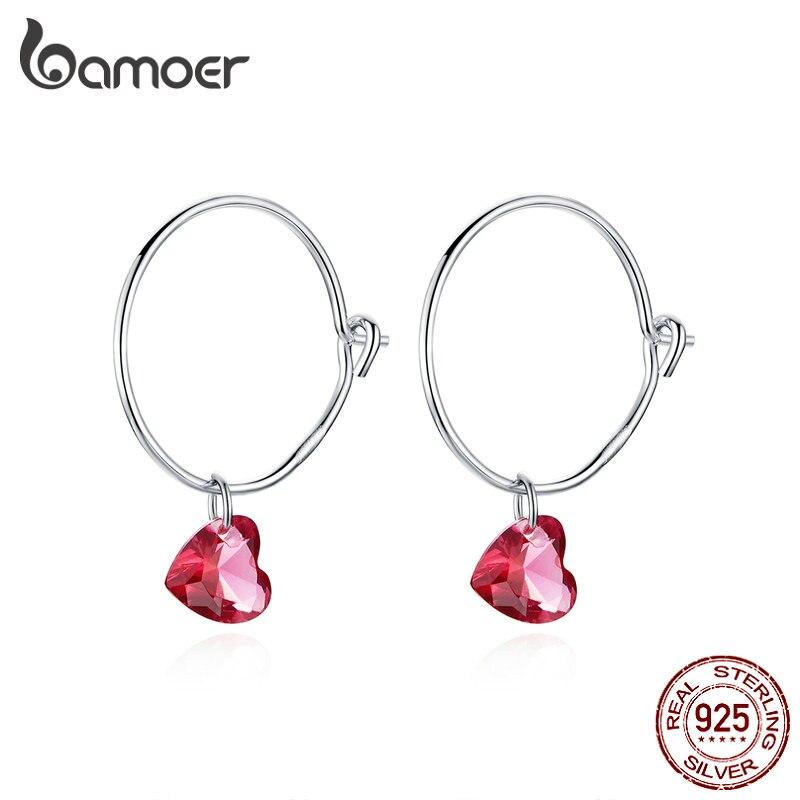 Pendientes con circulo redondo grande de bamoer con colgante de piedra de corazón rojo para mujeres, pendientes colgantes de Plata de Ley 925, joyería de moda BSE317
