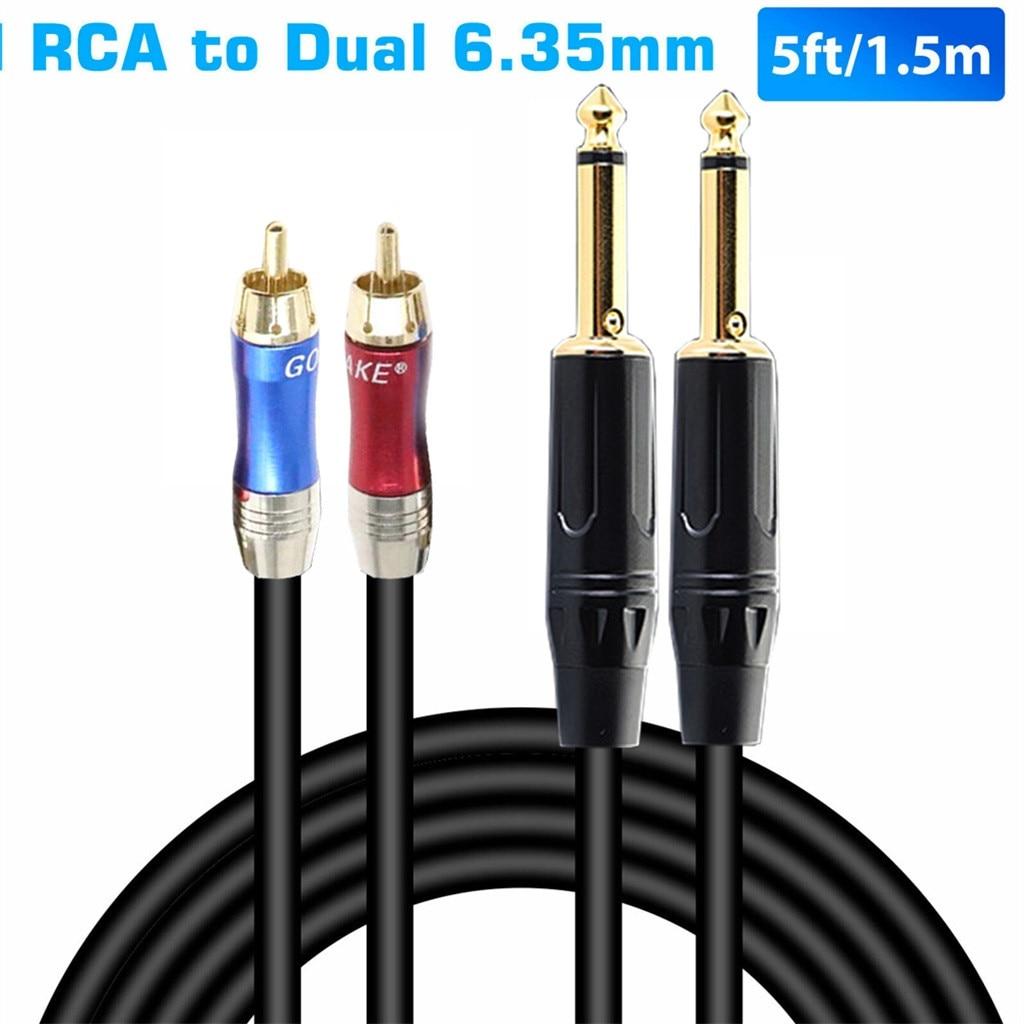 5 футов 1/4 дюйма разъем TRS для двойного RCA кабель позолоченный 6,35 мм до 2 RCA стерео аудио для Мультимедиа Видео кабель PS3 #35