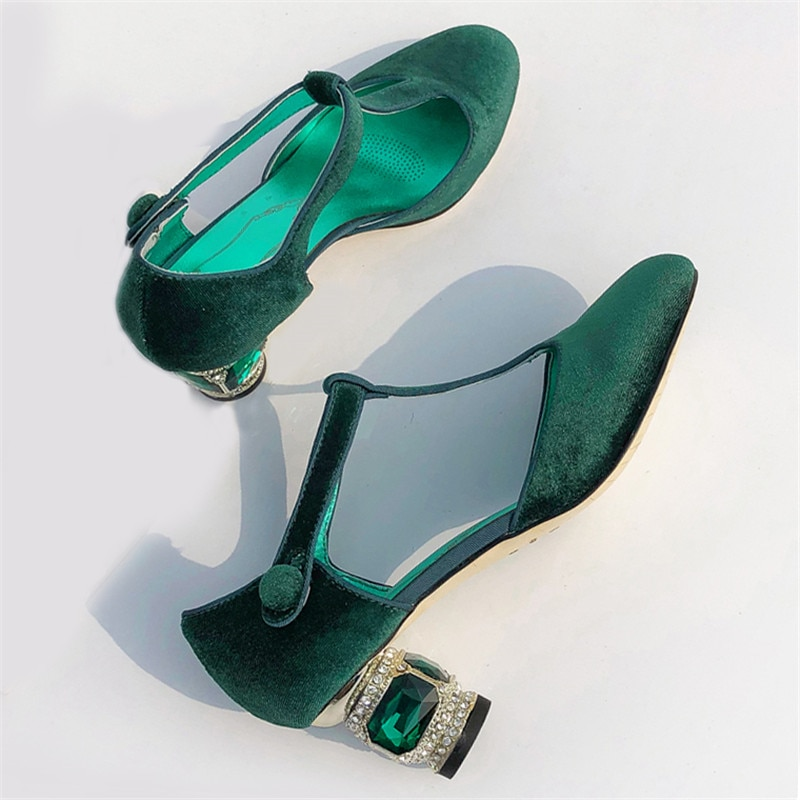 Luxo T-Correa Bombas Das Mulheres zapatos De Veludo Dedo do Pé Redondo...