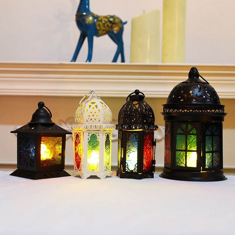 Stereo Palace Lamp Candlestick Eid Mubarak Decor Lights Ramadan Kareem Decorations for Home Muslim Islam Festival Party Supplies
