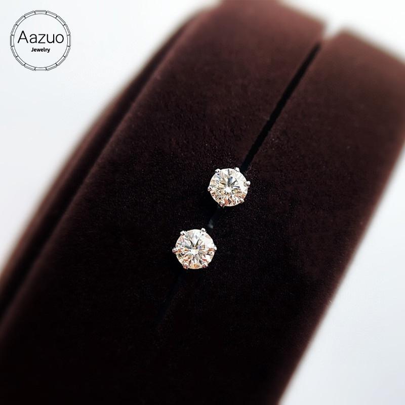 Aazuo 100% 18K الذهب الأبيض الماس الحقيقي 0.40-0.60ct الكلاسيكية قرط الاذن المرصع للمرأة الزفاف حفلة خطوبة