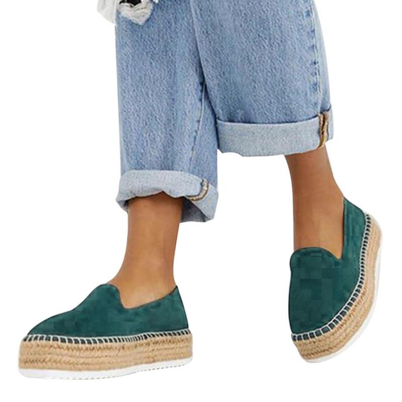 Adisputent Faux daim Espadrilles chaussures mocassins décontractés femmes ballerines Ballet confortable dames Zapatos Mujer