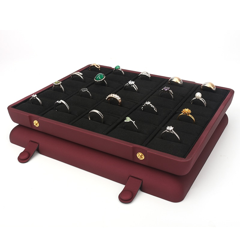Vintage Wine Red 20 Cells Pu Leather Jewelry Ring Pendant Display High Capacity Concealed Button Built-in Velet Black Card Slot