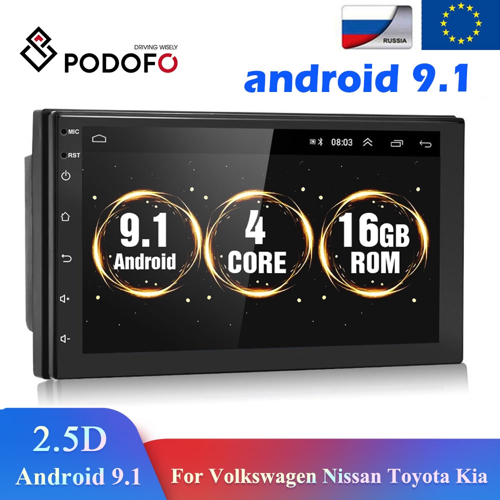Podofo Android 9.1 2 Din Car radio Multimedia GPS Player 2DIN 2.5D Universal For Volkswagen Nissan H