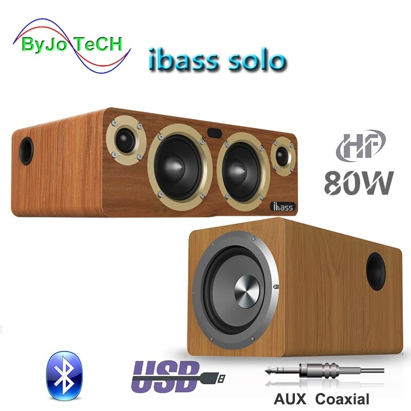 Review IBASS Solo Fever Bluetooth Speaker Computer TV Coaxial Audio Subwoofer Wooden Non Destructive Loudspeaker 80W Outdoor Household