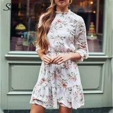 Southpire Women White Flower Print Summer Dress High Street Mini Dress Ladies Ruffle Elegant Dresses Elastic Waist