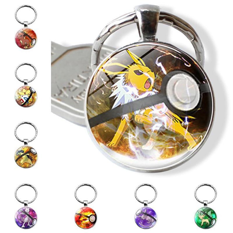 Pikachu cadena con llavero Pokemon Pokeball clave cadena ir llavero Mega creativo Chaveiro regalo Pokemon Vulpix cúpula Absol