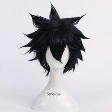 Peluca de pelo sintético resistente al calor y al calor con cola de hada gris
