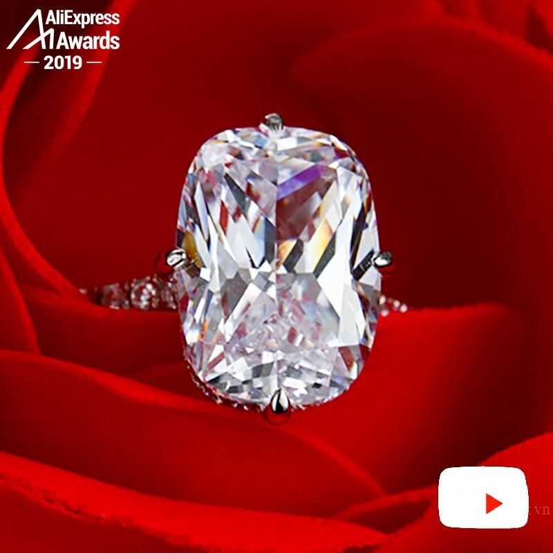 10*14mm Rectangle coussin S925 bijoux fins bague en argent sterling laboratoire-créé diamant Carat 4Cs proposition de mariage rêve