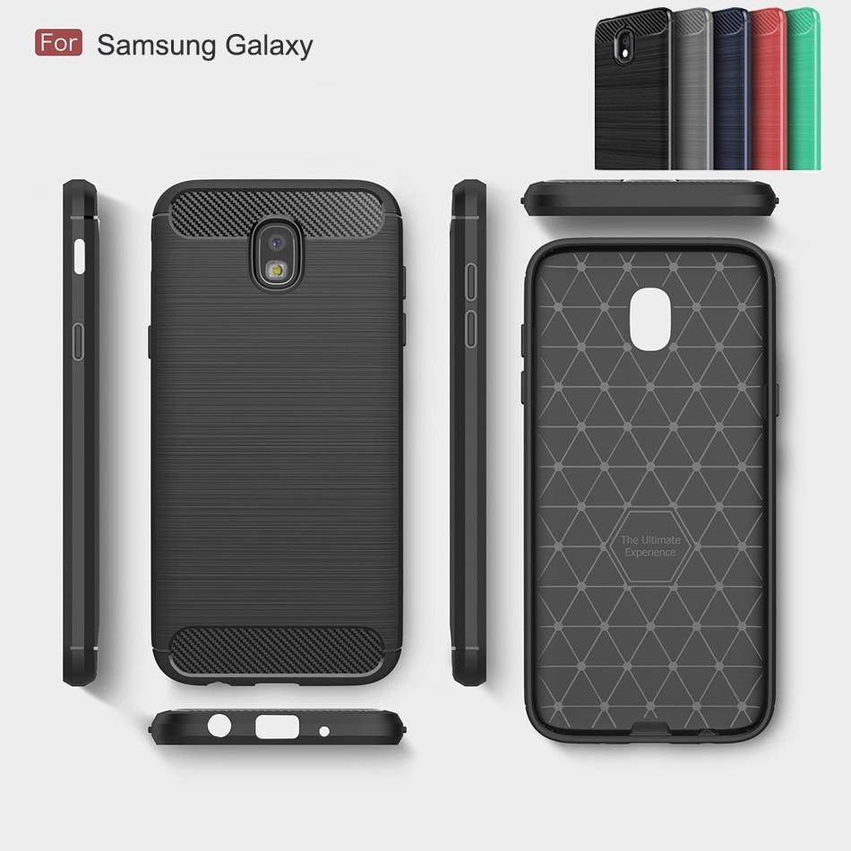 Fibra de carbono para Samsug Galaxy A30 A10 M20 A8s M10 s10 J4 A6S core lite plus silicona pesada suave completa protección de parachoques del caso