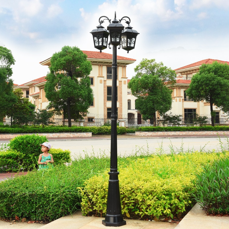 3.2m Outdoor Waterproof Garden Lamp Square villa courtyard high pole Street Lights European 2/3 heads LED landscape Road lamp enlarge