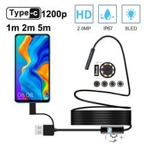 Type C Endoscoop Camera 1200P 8 Mm 1M 2M 5M Zachte Kabel Usb Endoscoop Borescope Inspectie camera Voor Android Smartphone Windows