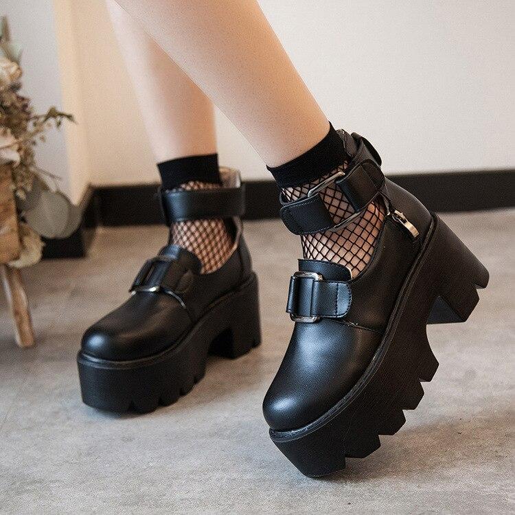لوليتا أحذية القوطية الجولة رئيس ماري جين الأحذية اليابانية كلية فتاة JK موحدة بولي leleatehr منصة حزام مقاوم للماء حذاء أسود