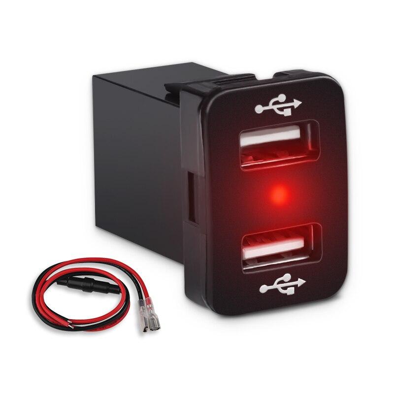 5V 4.2A Dual USB Carregador de Carro Para Toyota 23mm * 33mm 12 V-24 V LEVOU carregador de luz do visor Com Fusível Fiação De Carga Para O Telefone GPS