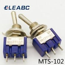 5 pièces/lot Mini MTS-102 3 broches G107 SPDT ON-ON 6A 125V 3A250VAC interrupteurs à bascule de bonne qualité