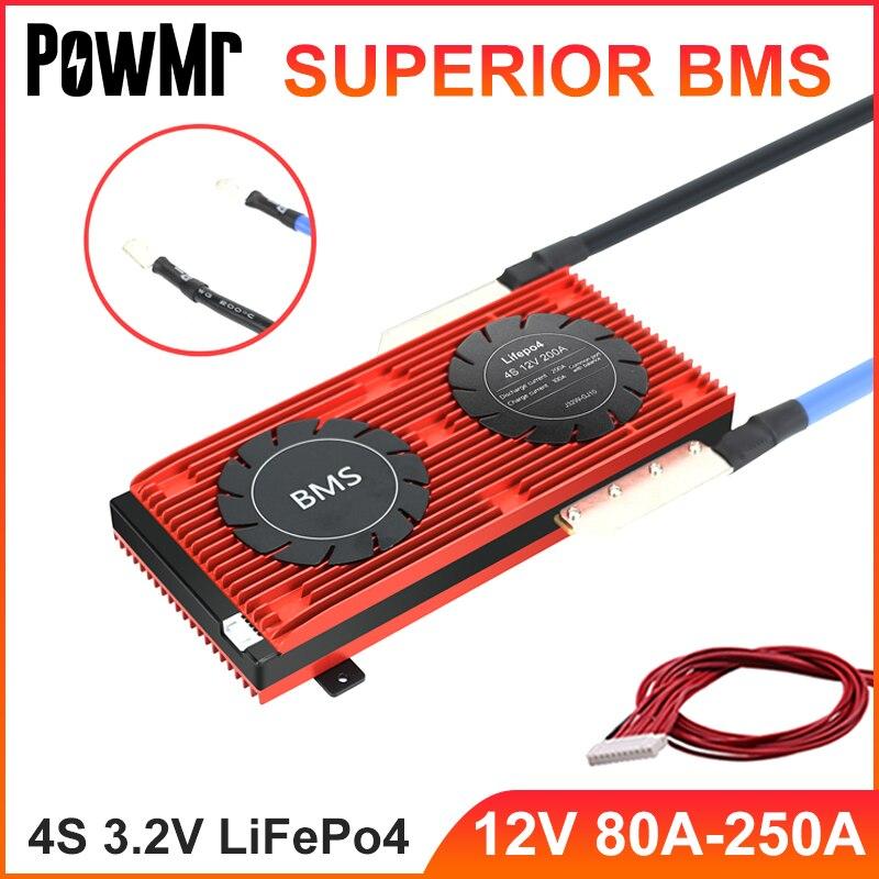 PowMr 4S 3.2V BMS الذكية 12V 80A 100A 120A 150A 200A 250A ل LiFePo4 بطارية وحدة 18650 PCM مجلس ميناء مشترك مع توازن جديد