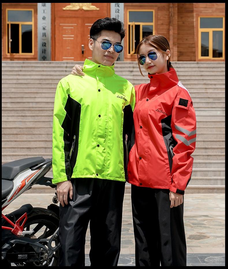 Conjunto de Capas de Chuva para Mulheres dos Homens Impermeável ao ar Ropa de Lluvia Esporte Reflexivo Motocicleta Moda Livre Bens Domésticos Dg50r