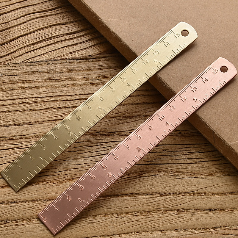 15Cm 18CM 20CM Brass Straight Ruler for School Office Stationery Metal Painting Drawing Tools Chancery Measuring Ruler Bookmark