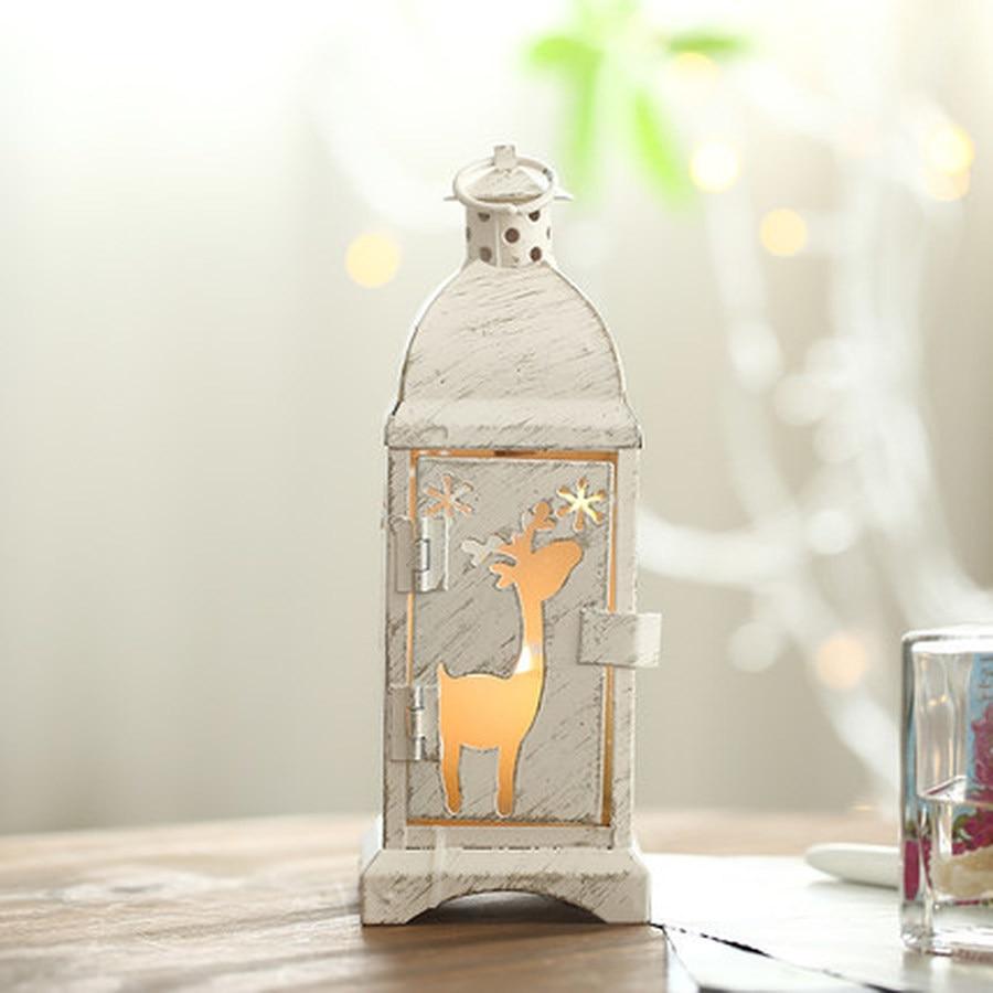 Portavelas de hierro forjado decoraciones de Navidad portavelas decoración del hogar romántica colgante Vintage candelero de hierro II50ZT