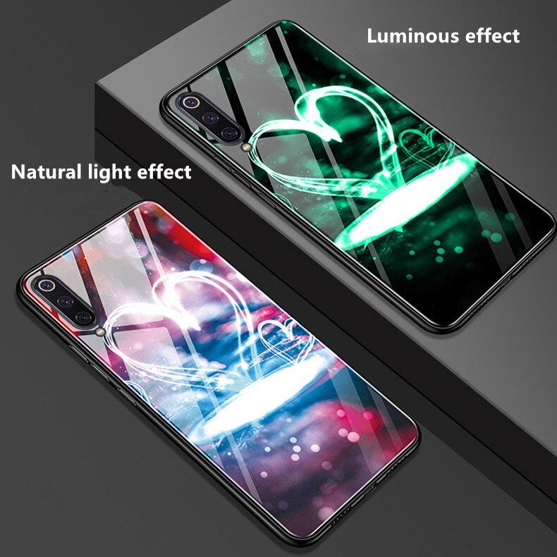 Funda para Xiaomi Mi 9 Lite, funda de lujo con parachoques luminoso de vidrio templado, funda de TPU para Xiaomi Mi A3 Mi 9 note 10 Pro 5G Mi8