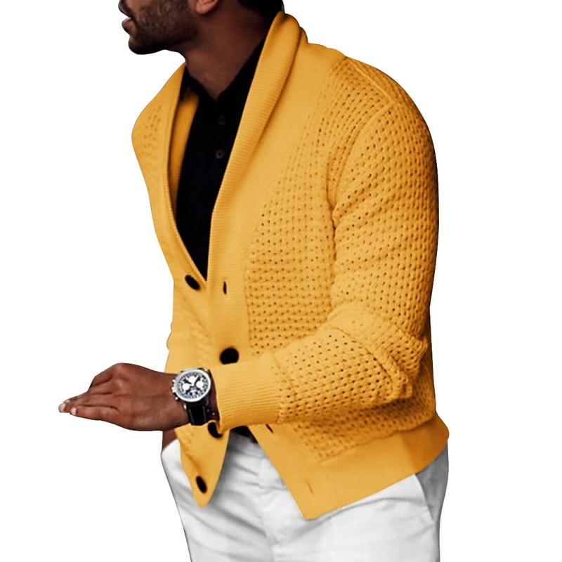 Solid Color Knitted Sweaters For Mens 2021 New Autumn Winter Fashion Men Sweater Coat Casual Buttoned Cardigan Jacket Streetwear
