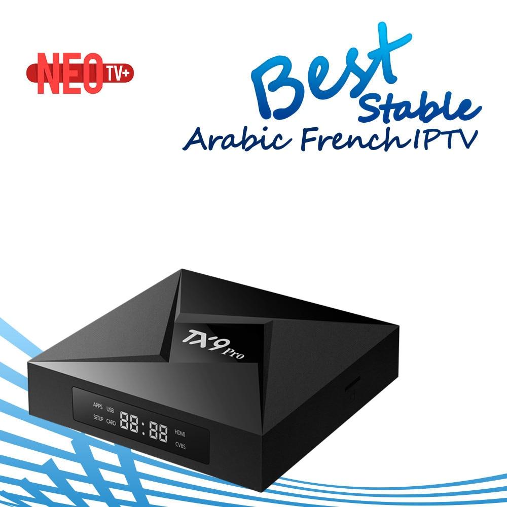 Melhor francês árabe benelux iptv abonnement tx9 pro android caixa de tv inteligente amlogic s912 octa núcleo 2g/16g caixa de tv sem canal incluído