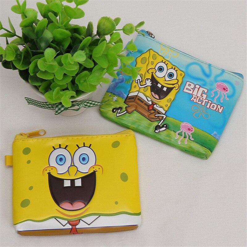 Nueva PU cuero Mini bolsas de dinero dibujos animados Bob Esponja 3D en relieve niños monedero 12*10cm cuadrado cero cartera para niñas niños regalos